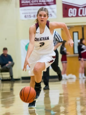 Cheatham County's Emmy Nelson dribble the ball upcourt.