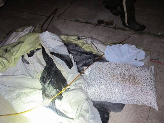 James Foley's tent after it was ran over by Danny Cardin.