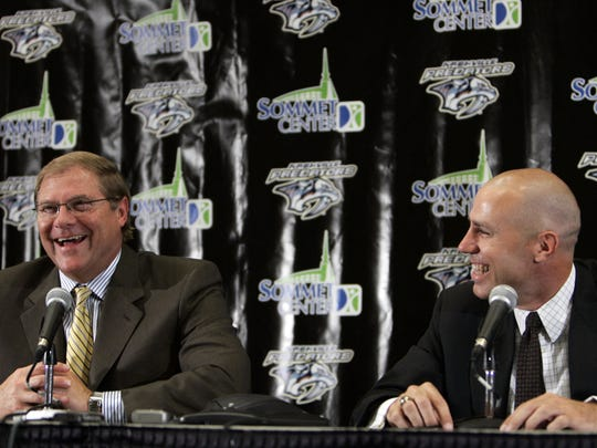 Nashville Predators owner Craig Leipold, left, and