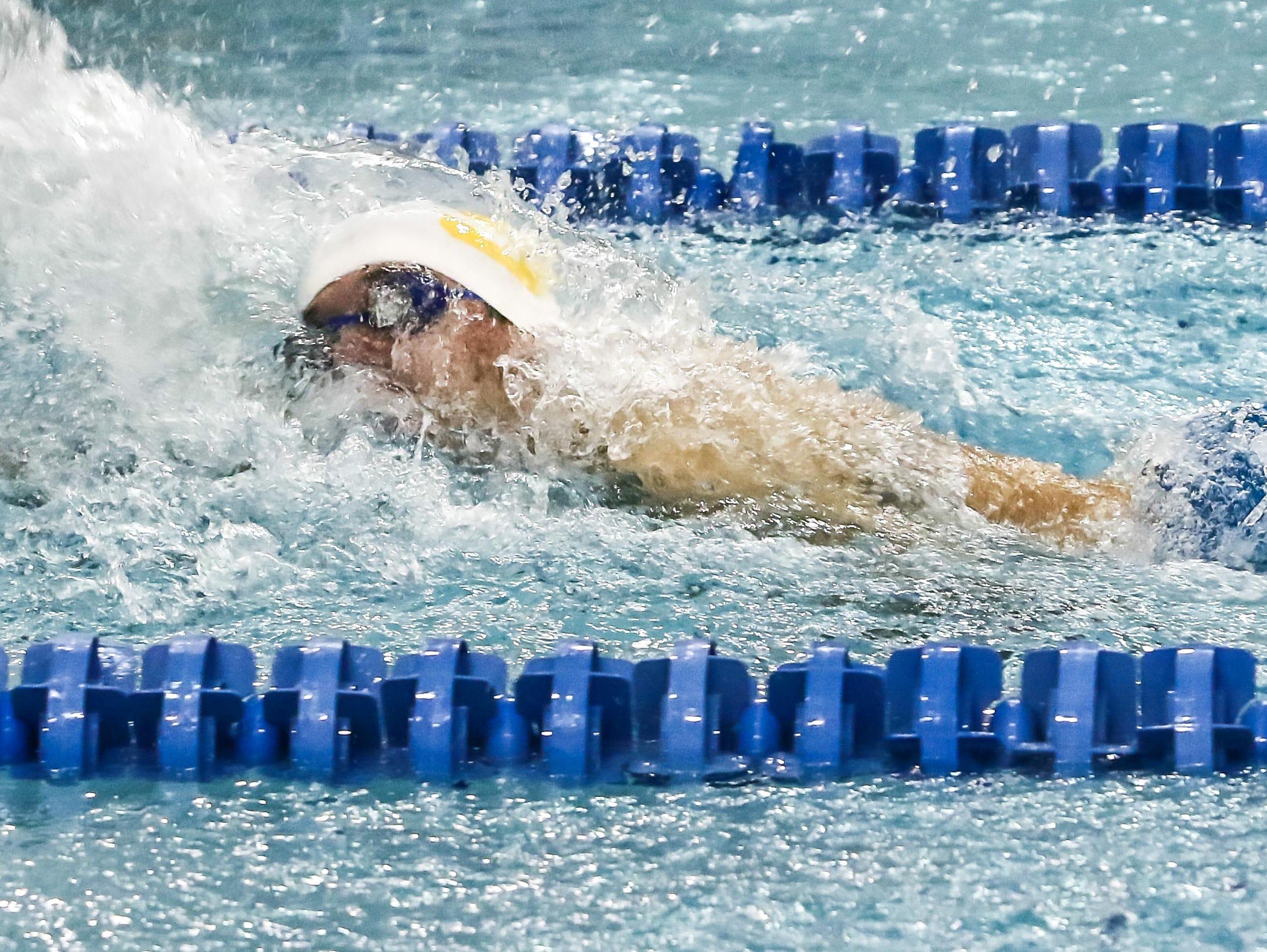 Salesianum Andrew Halberg participates in the 50-Yard Freestyle during the boys swimming and diving state tournament Saturday at Rawstrom Natatorium, Carpenter Sports Building in Newark.