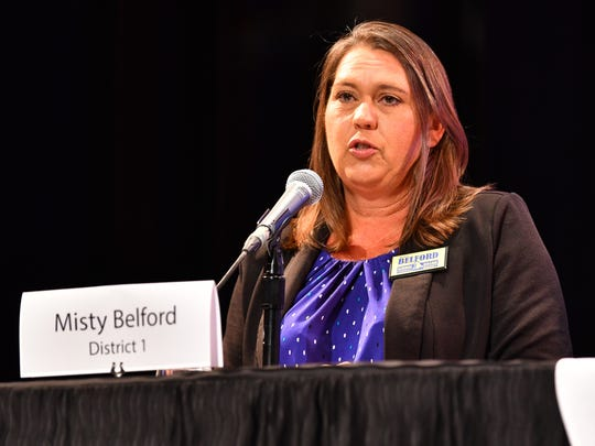 Wednesday night District 1 and 2 school board forum at the Eastern Florida State College Cocoa Campus. Incumbent Misty Belford.