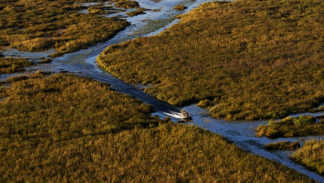 A Miccosukee Tribe airboat cruises through a channel on Miccosukee tribal lands in the Everglades. Airboat rides are one of the main sources of income for members of the tribe.