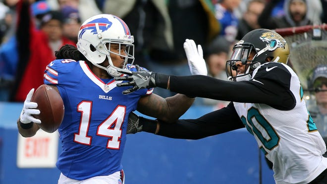 Bills receiver Sammy Watkins catches this pass against Jacksonville's Jalen Ramsey for a 62 yard gain.  Watkins caught 3 passes for 80 yards in his first game back from injury.