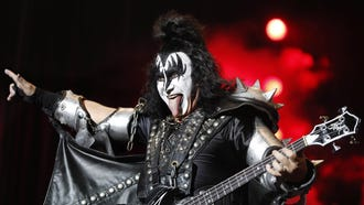epa06873010 US band 'Kiss' singer and bass player Gene Simmons performs on stage during the Rock Fest closing concert played at the Can Zam park in Santa Coloma de Gramanet, Barcelona, Spain, 07 July 2018.  EPA-EFE/ANDREU DALMAU ORG XMIT: GRAF5783