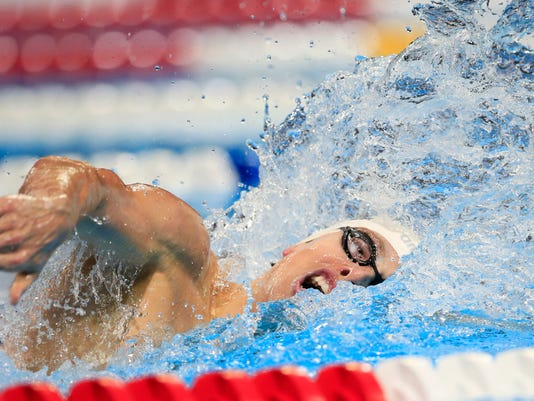 Connor Jaeger swims during the men's 400-meter freestyle final at the U.S. Olympic swimming trials, Sunday, June 26, 2016, in Omaha, Neb. (AP Photo/Orlin Wagner)
