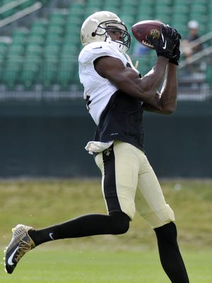 Saints wide receiver Brandon Coleman (16) is one of long list of undrafted free agents hoping to make a big impact in New Orleans this fall.