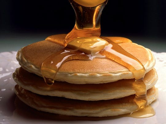 A short stack of pancakes from IHOP.