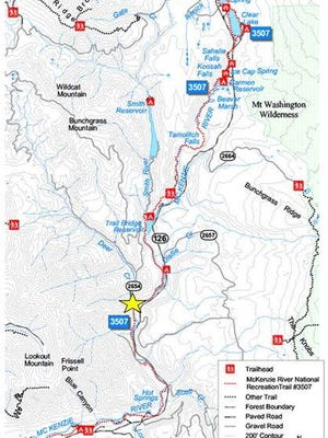 This map shows where the delays will be located — look for the yellow star — on the Mckenzie River Trail during a construction project.