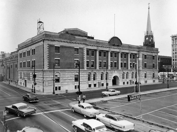 An exterior photo of the Armory.  July 5, 1959.