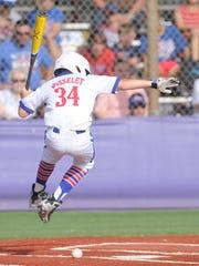Abilene Dixie's Dylan Josslet  is hit by a pitch in