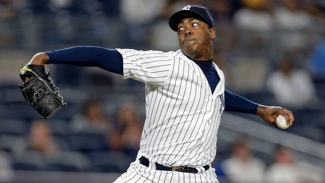 this weekend, Yankees' Aroldis Chapman returns to Chicago, where he was traded to last season for four players.