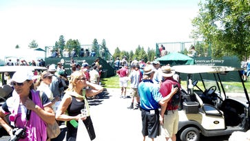 Fans wait for celebrities during the American Century Celeb-Am Tournament at the Edgewood Tahoe Golf Course along the shores of Lake Tahoe in Stateline on Tuesday