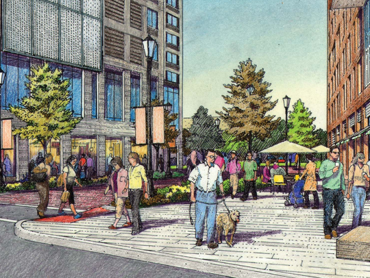 A rendering of the Park District project showing a