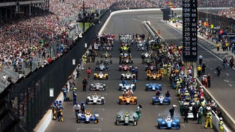 Thirty-three cars fill the front stretch ahead of the start of the 2017 Indianapolis 500.