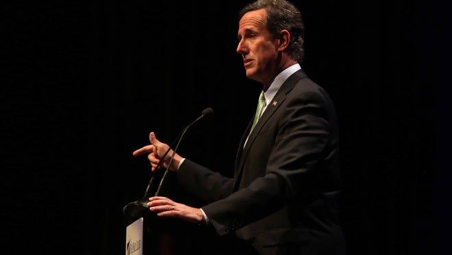 Sen. Rick Santorum speaks during the Family Leader Summit in Ames on Saturday, Aug. 9, 2014.