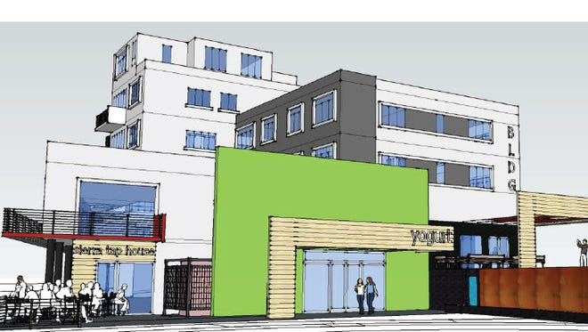 Artist renderings show potential changes on and around the Truckee Lane Building.