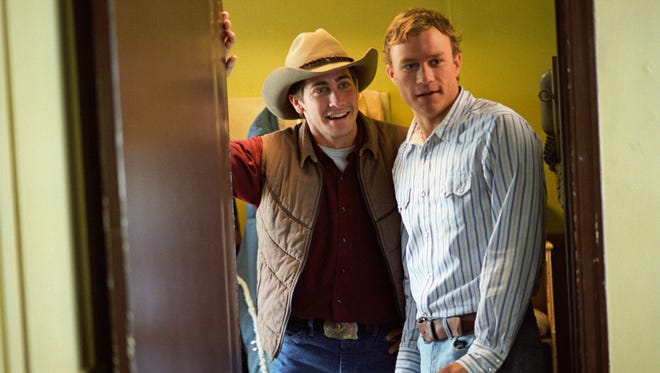 "Jake Gyllenhaal (left) and Heath Ledger are cowboys who fall for each other in ""Brokeback Mountain."""