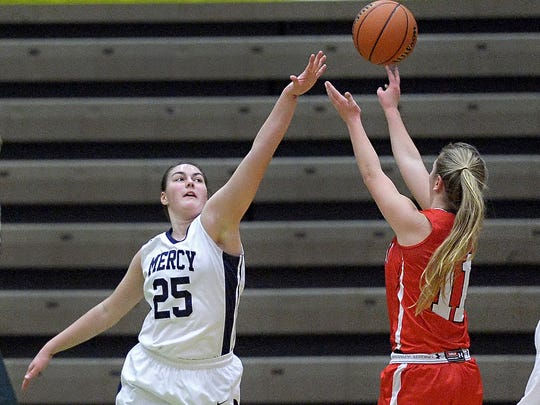 Mercy's Katie Titus, left, defends against Jamesville-DeWitt's Carly O'Hern.