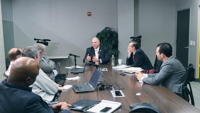 Senate President Steve Sweeney visits the Asbury Park Press
