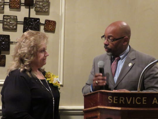 Family and friends, including friends she only just met, gathered at Giovanna's Restaurant in Plainfield to honor Shirley Weaver Thompson as she received the 2017 Service Above Self Award from the Rotary Club of Plainfield-North Plainfield.