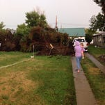 A severe thunderstorm with up to 120 mph winds toppled trees around Glendive on Monday.