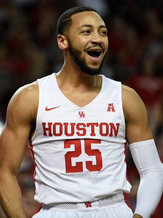 Houston guard Galen Robinson Jr. reacts after drawing a foul during the first half of an NCAA college basketball game against Connecticut, Sunday, March 4, 2018, in Houston. (AP Photo/Eric Christian Smith)