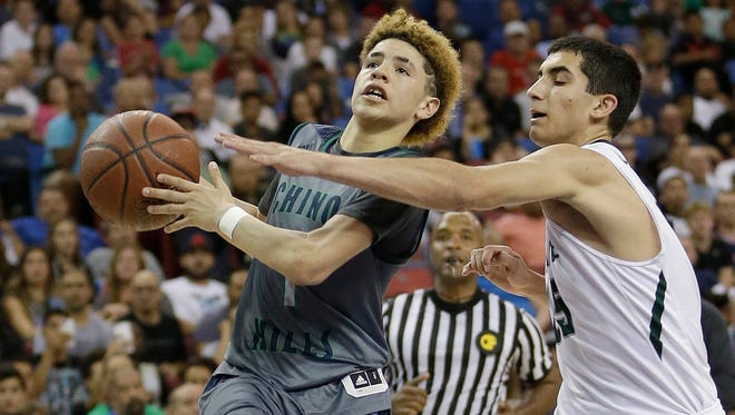 LaMelo Ball, the younger brother of UCLA's star freshman Lonzo Ball, scored 92 points — 41 in the fourth quarter — to help Chino Hills beat Los Osos 146-123 on Tuesday night.