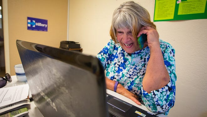 Hillary Clinton campaign volunteer Mary Deaver calls potential Clinton supporters at the campaign's Las Cruces office, June 1, 2016. Deaver, who has been volunteering for the campaign every day, also supported Clinton in her 2008 bid for the Democratic nomination for president.