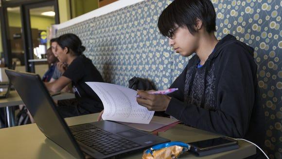 L.C. Alcantar, 20, studies at Mesa Community College
