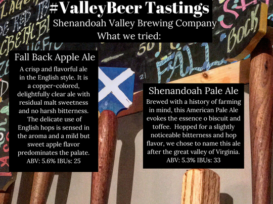 Shenandoah Valley Brewing Company's offerings for our