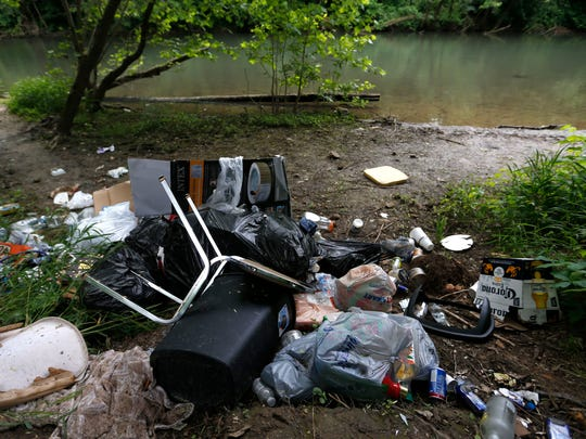 Someone dumped this pile of garbage along the James River east of Springfield last week.
