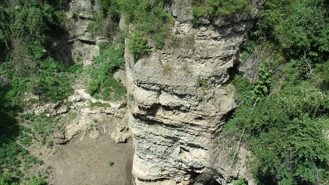 A portion of Grand Gulf State Park's 130-foot canyon walls, left behind after the roof of a gigantic cave collapsed 10,000 years ago.