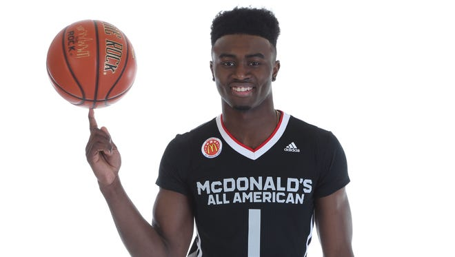 McDonald's High School All-America Jaylen Brown poses for pictures Saturday, March 28, 2015.