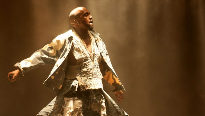 Kanye West performs on The Pyramid Stage at the Glastonbury Festival, at Worthy Farm in Somerset, England, Saturday June 27, 2015.