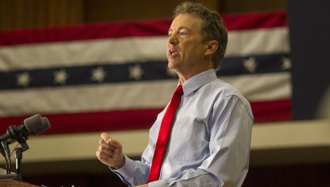 Rand Paul speaks in Iowa this on April 10.