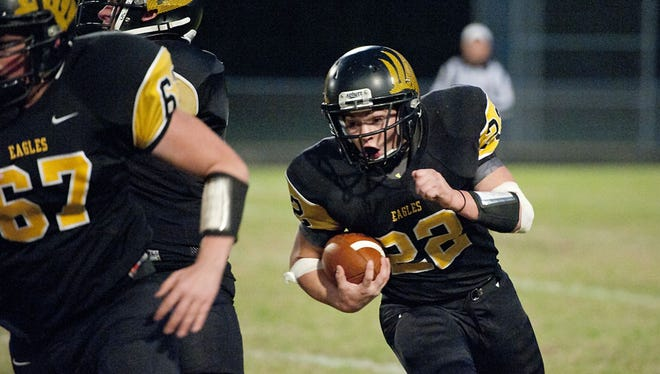 Colonel Crawford running back Blake Treisch runs the ball during the Eagles' Week 8 win.