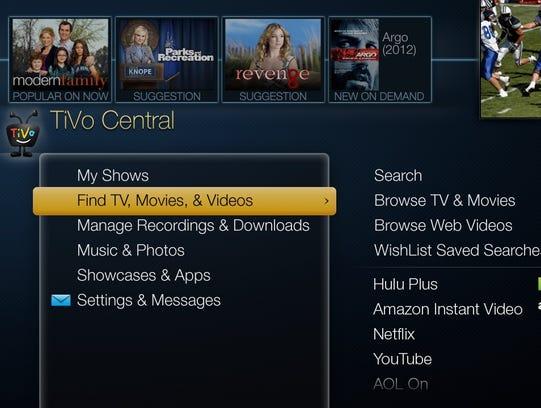 TiVo menu