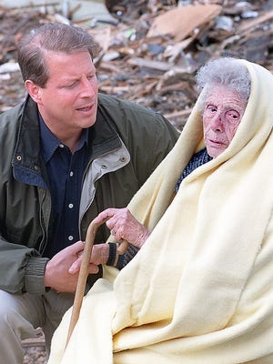 - Vice President Al Gore shakes the hand of Lucille Mone, one of the victims of the Spencer tornado.
