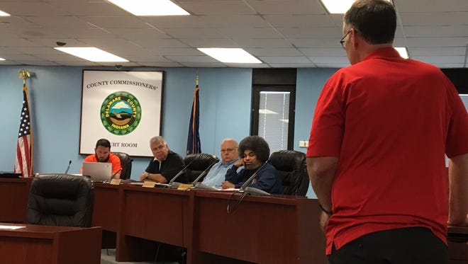 Jim Ballenger, a local pastor, speaks out against a liquor license for the AMC Showplace theater during a Thursday, June 1 meeting of the Delaware County Alcoholic Beverage Commission.