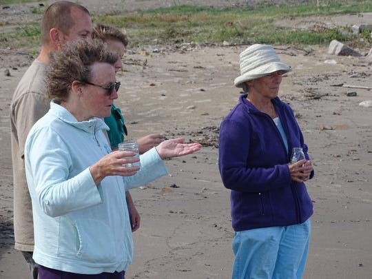 Carol Clemons, pictured left, speaks Sunday at a Great Lakes healing waters ceremony at Port Clinton's city beach. Clemons and Toni Garrett organized the ceremony to put a spotlight on the importance of clean water in the Great Lakes watershed.