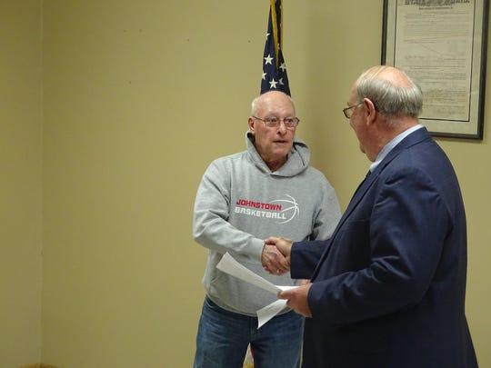West Lafayette Village  Councilman Ron Lusk, left,