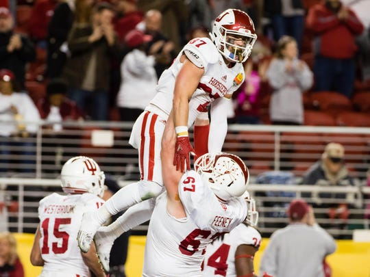 FILE – Hoosiers wide receiver Mitchell Paige (87) is