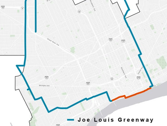 Map shows the route of the proposed Joe Louis greenway.