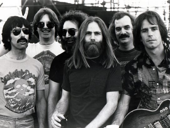 The early 1980s Grateful Dead, from left: Mickey Hart,