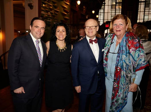 Cincinnati Mayor John Cranley, his wife, Dena Cranley, David Rosenberg and Cora Ogle at the May Festival and Cincinnati Symphony Orchestra's party at the New York Yacht Club on Thursday night.