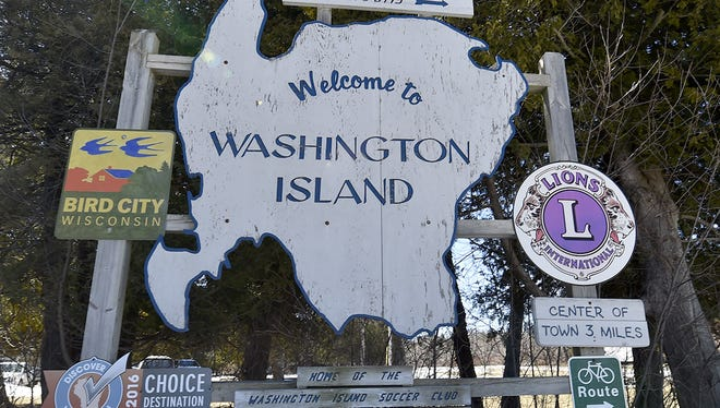 The sign welcoming visitors to Washington Island in Door County. The Washington Island School District faces unique challenges as the state's smallest and most remote district.