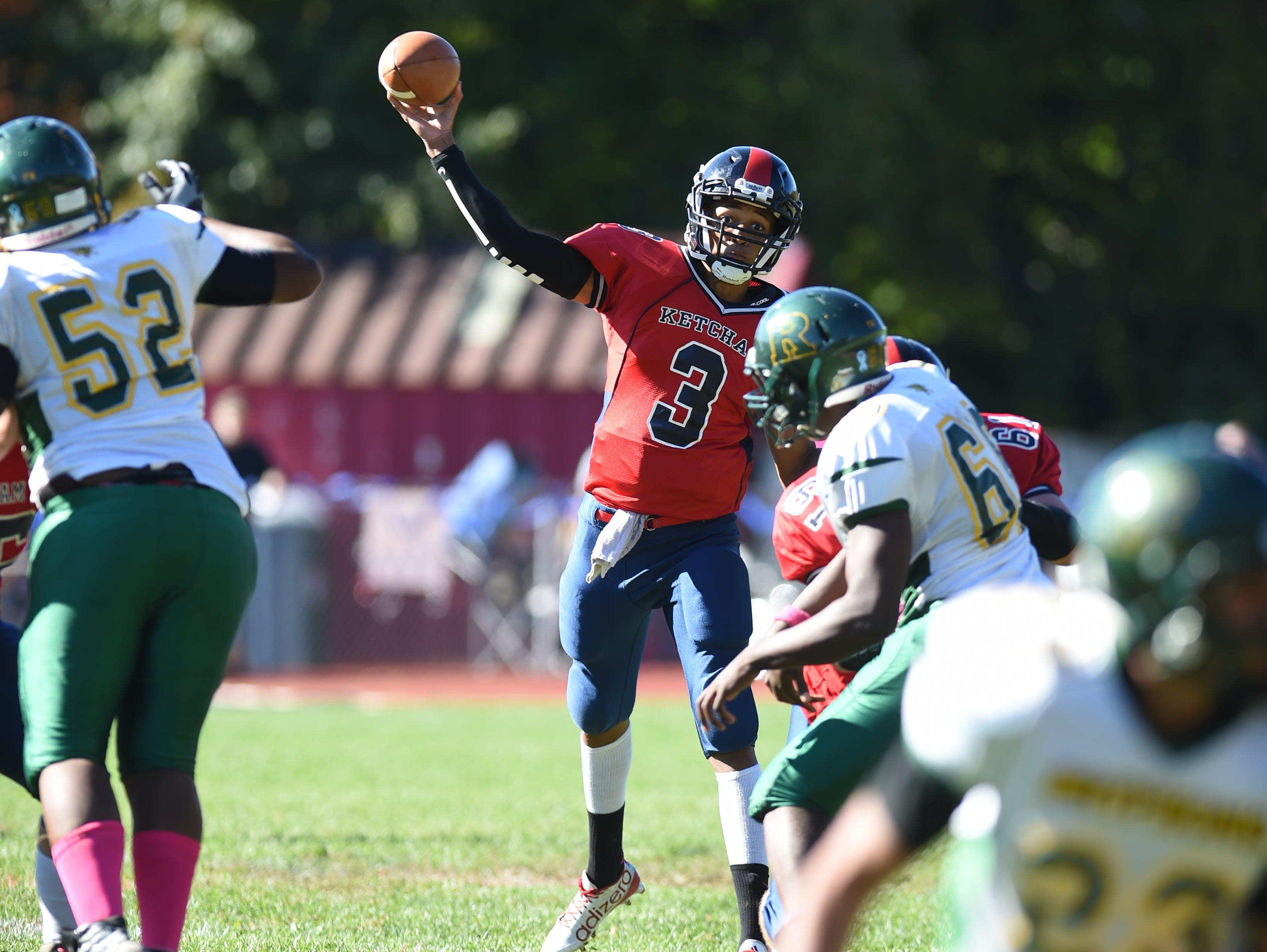 Ketcham's Al Dockery passes the ball during Saturday's game versus Ramapo in Wappingers Falls.