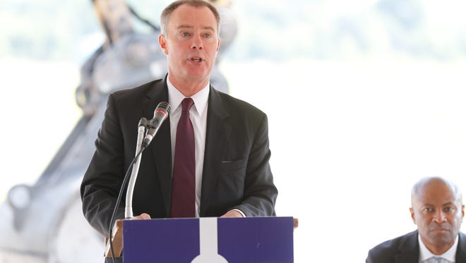 Indianapolis Mayor Joe Hogsett speaks during the groundbreaking ceremony for the new Community Justice Campus in the Twin Aire neighborhood of Indianapolis on Thursday, July 12, 2018. The campus will house the new jail, courthouse, Sheriff's Office, and an Assessment and Intervention Center.