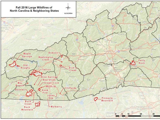 North Carolina Wildfire Map.Thursday Wnc Wildfire Update 50 000 Acres Affected