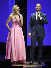 Elisabeth Hasselbeck and Kirk Cameron host the K-Love Fan Awards on May 31, 2015, at the Grand Ole Opry House in Nashville.